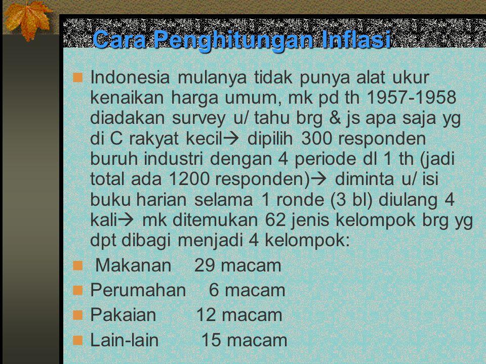 Cara Penghitungan Inflasi Indonesia mulanya tidak punya alat ukur kenaikan harga umum, mk pd th 1957-1958 diadakan survey u/ tahu brg & js apa saja yg