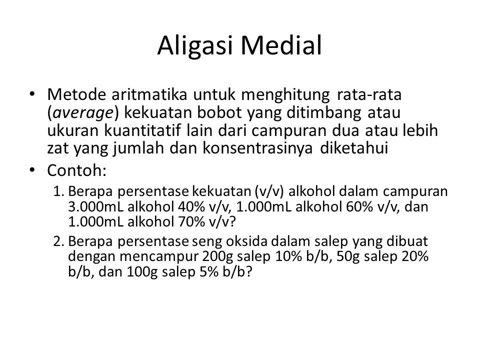 Aligasi Medial Metode aritmatika untuk menghitung rata-rata (average) kekuatan bobot yang ditimbang atau ukuran kuantitatif lain dari campuran dua ata