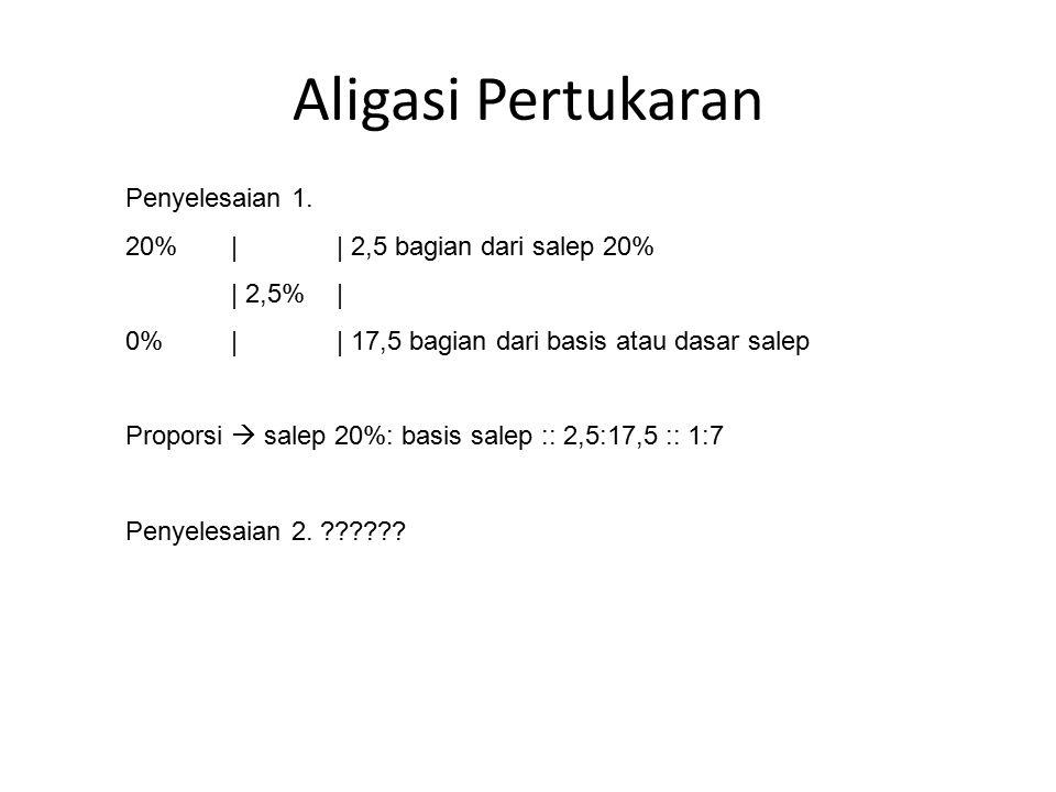Aligasi Pertukaran Penyelesaian 1. 20%|| 2,5 bagian dari salep 20% | 2,5%| 0%|| 17,5 bagian dari basis atau dasar salep Proporsi  salep 20%: basis sa