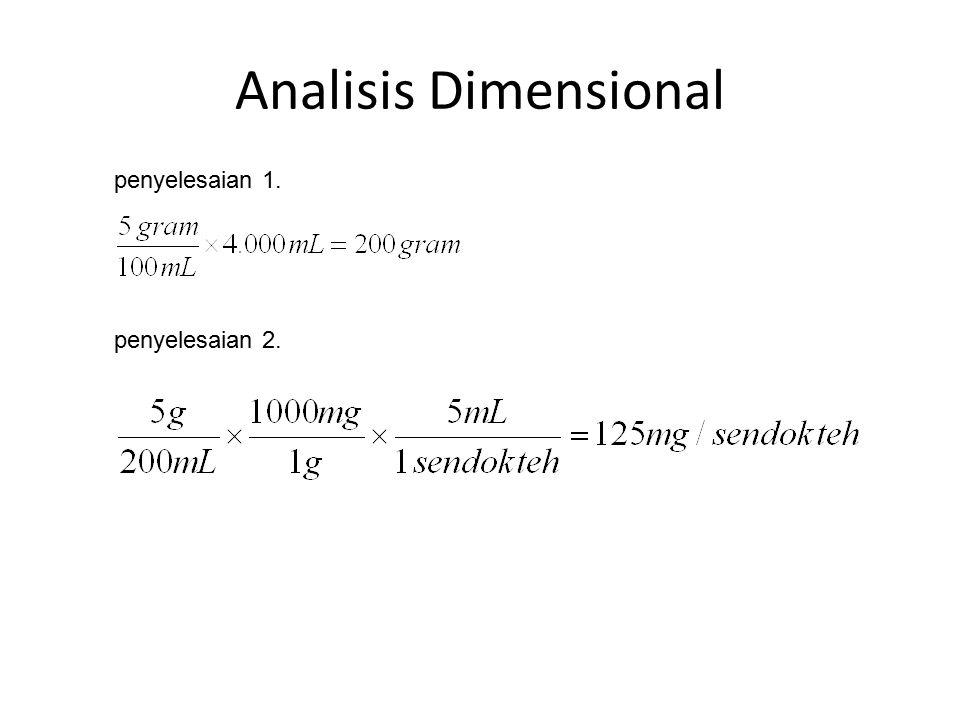 Analisis Dimensional penyelesaian 1. penyelesaian 2.