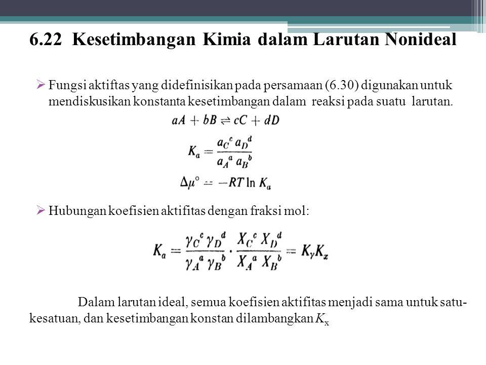 6.22 Kesetimbangan Kimia dalam Larutan Nonideal  Fungsi aktiftas yang didefinisikan pada persamaan (6.30) digunakan untuk mendiskusikan konstanta kesetimbangan dalam reaksi pada suatu larutan.