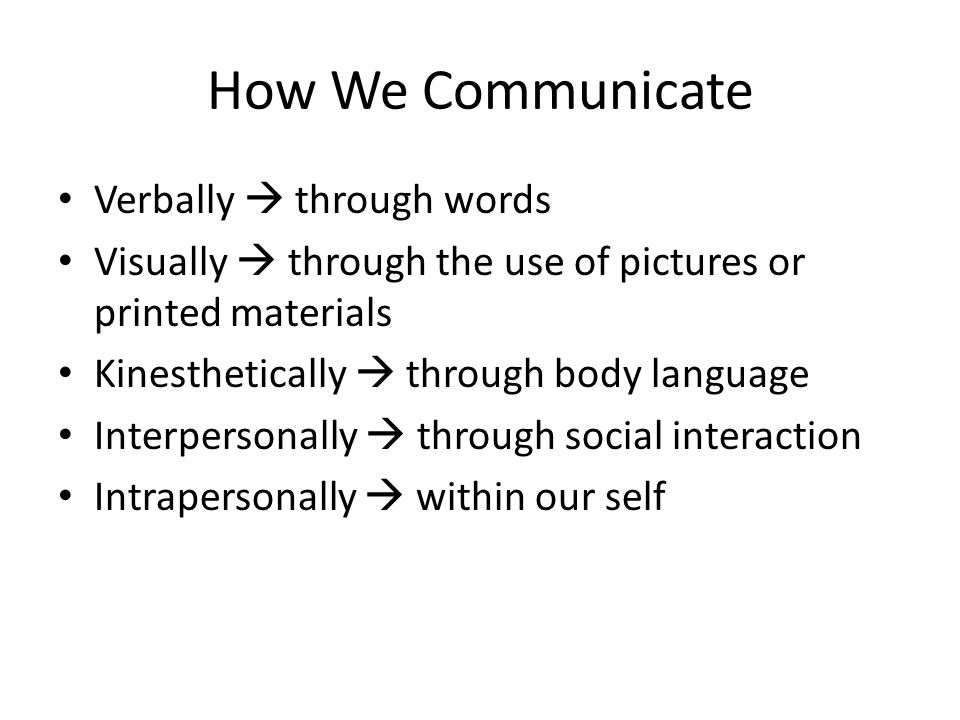 How We Communicate Verbally  through words Visually  through the use of pictures or printed materials Kinesthetically  through body language Interpersonally  through social interaction Intrapersonally  within our self