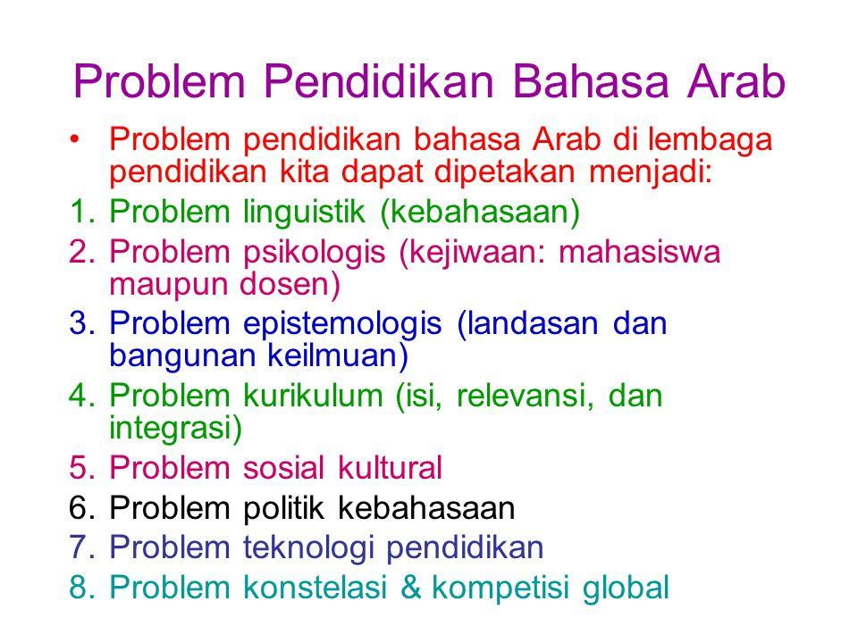 Problem Pendidikan Bahasa Arab Problem pendidikan bahasa Arab di lembaga pendidikan kita dapat dipetakan menjadi: 1.Problem linguistik (kebahasaan) 2.