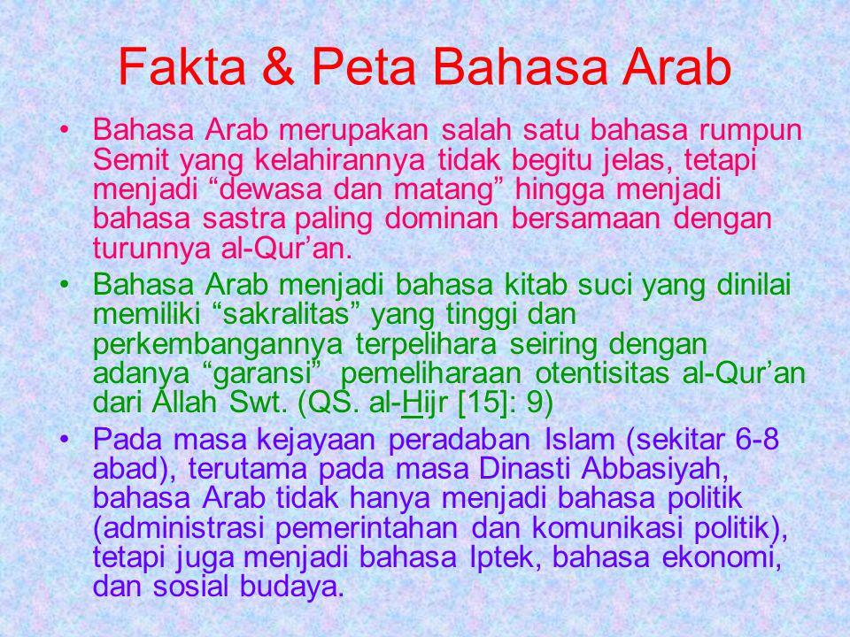 Data Penggunaan Bahasa Arab Peringkat BahasaJumlah Penutur Asli ICinaLebih dari 1 M IIInggrisLebih dari 400 Jt IIISpanyolLebih dari 250 Jt IVIndiaLebih dari 200 Jt VArabLebih dari 150 Jt.