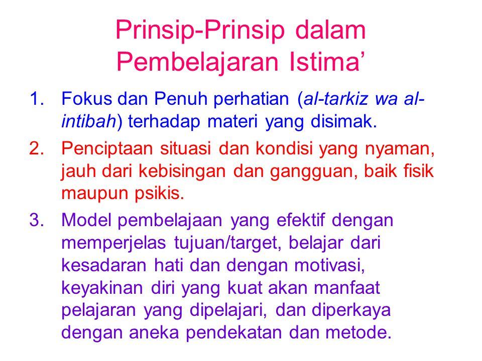 Prinsip-Prinsip dalam Pembelajaran Istima' 1.Fokus dan Penuh perhatian (al-tarkiz wa al- intibah) terhadap materi yang disimak. 2.Penciptaan situasi d