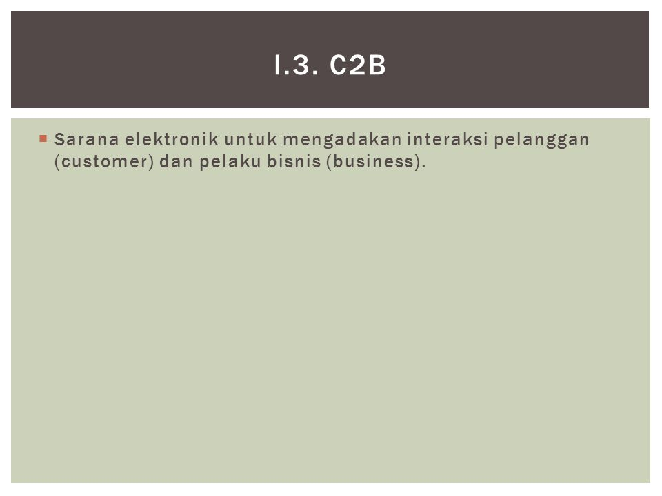  Sarana elektronik untuk mengadakan interaksi pelanggan (customer) dan pelaku bisnis (business).