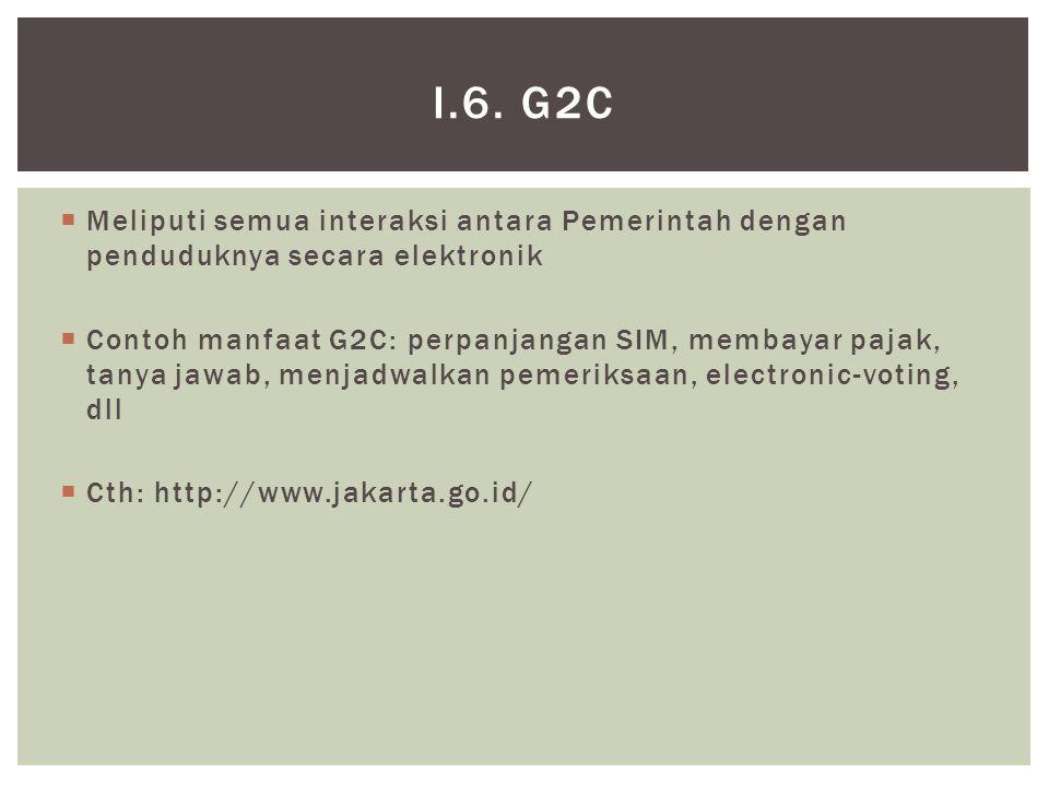  Meliputi semua interaksi antara Pemerintah dengan penduduknya secara elektronik  Contoh manfaat G2C: perpanjangan SIM, membayar pajak, tanya jawab, menjadwalkan pemeriksaan, electronic-voting, dll  Cth: http://www.jakarta.go.id/ I.6.