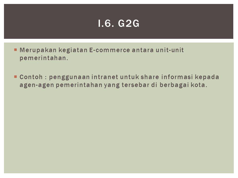  Merupakan kegiatan E-commerce antara unit-unit pemerintahan.  Contoh : penggunaan intranet untuk share informasi kepada agen-agen pemerintahan yang