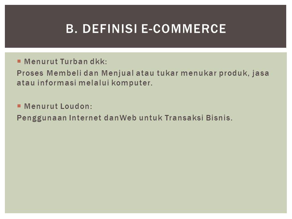  Menurut Turban dkk: Proses Membeli dan Menjual atau tukar menukar produk, jasa atau informasi melalui komputer.