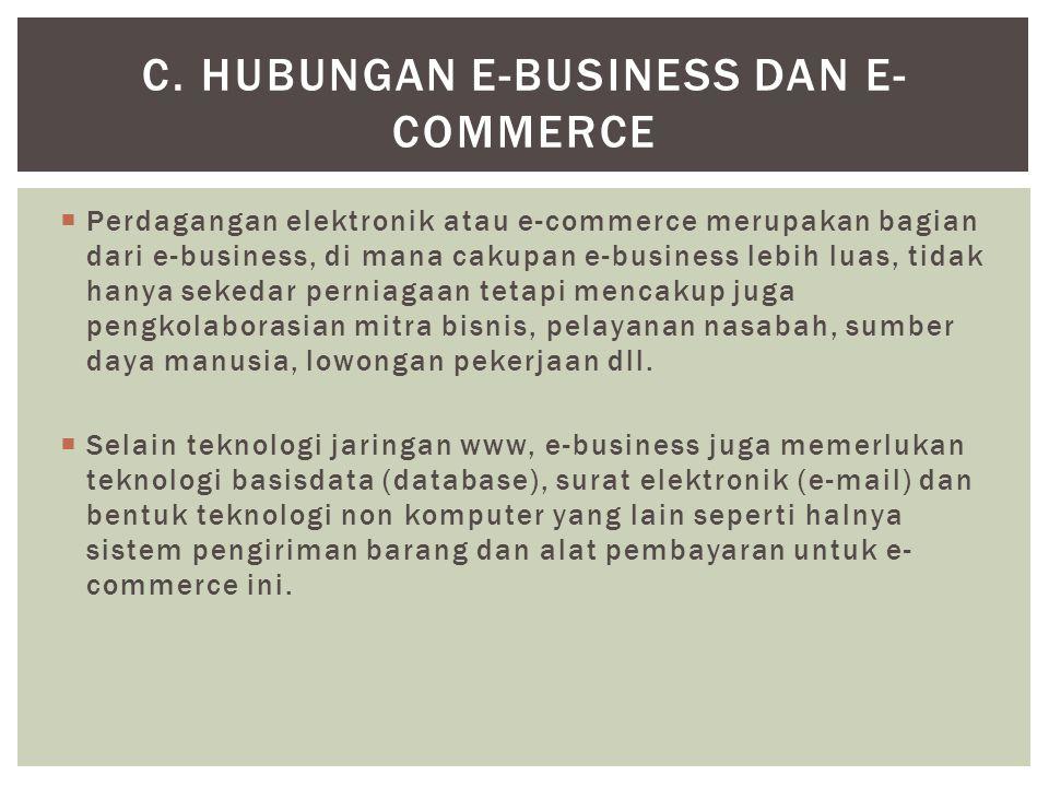  Perdagangan elektronik atau e-commerce merupakan bagian dari e-business, di mana cakupan e-business lebih luas, tidak hanya sekedar perniagaan tetapi mencakup juga pengkolaborasian mitra bisnis, pelayanan nasabah, sumber daya manusia, lowongan pekerjaan dll.