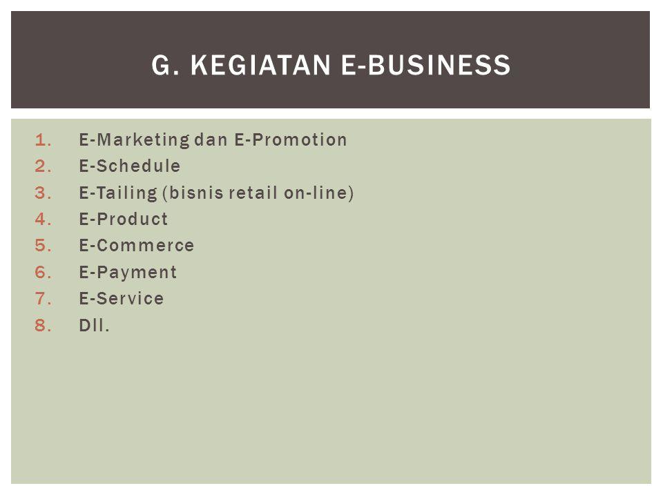 1.E-Marketing dan E-Promotion 2.E-Schedule 3.E-Tailing (bisnis retail on-line) 4.E-Product 5.E-Commerce 6.E-Payment 7.E-Service 8.Dll. G. KEGIATAN E-B
