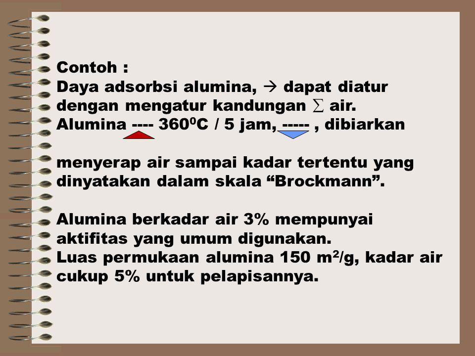Contoh : Daya adsorbsi alumina,  dapat diatur dengan mengatur kandungan  air.