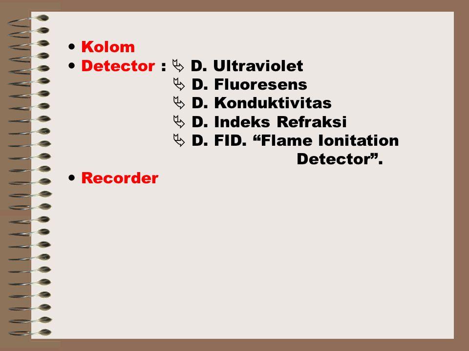 Kolom Detector :  D.Ultraviolet  D. Fluoresens  D.