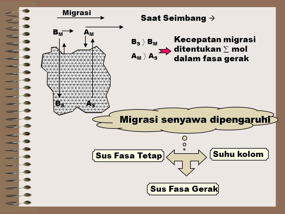 Saat Seimbang  B S  B M A M  A S Kecepatan migrasi ditentukan  mol dalam fasa gerak Sus Fasa Tetap Migrasi senyawa dipengaruhi Sus Fasa Gerak Suhu kolom AMAM BMBM Migrasi BSBS ASAS
