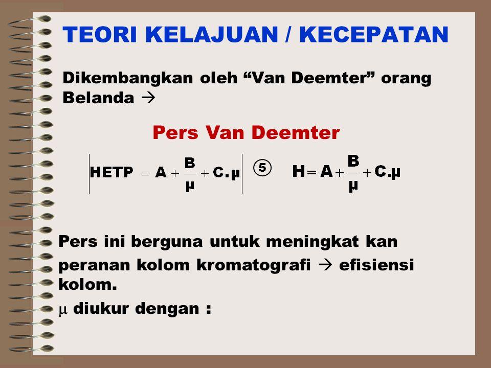 TEORI KELAJUAN / KECEPATAN Dikembangkan oleh Van Deemter orang Belanda  5 Pers ini berguna untuk meningkat kan peranan kolom kromatografi  efisiensi kolom.