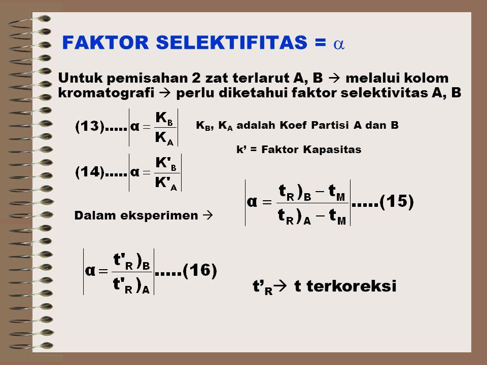 FAKTOR SELEKTIFITAS =  Untuk pemisahan 2 zat terlarut A, B  melalui kolom kromatografi  perlu diketahui faktor selektivitas A, B k' = Faktor Kapasitas K B, K A adalah Koef Partisi A dan B Dalam eksperimen  t' R  t terkoreksi