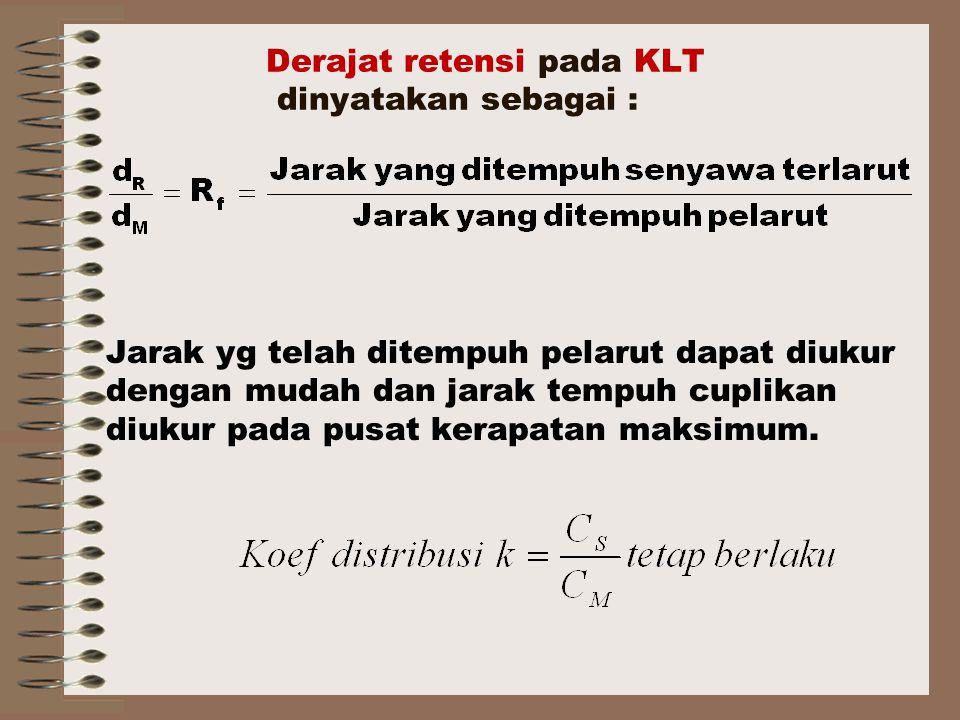 Derajat retensi pada KLT dinyatakan sebagai : Jarak yg telah ditempuh pelarut dapat diukur dengan mudah dan jarak tempuh cuplikan diukur pada pusat kerapatan maksimum.
