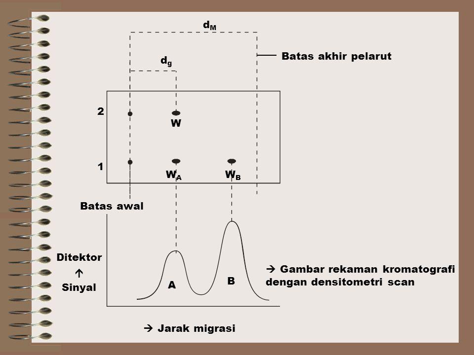 Batas akhir pelarut  Gambar rekaman kromatografi dengan densitometri scan  Jarak migrasi Batas awal Ditektor  Sinyal 1 2 A B W WAWA WBWB dgdg dMdM