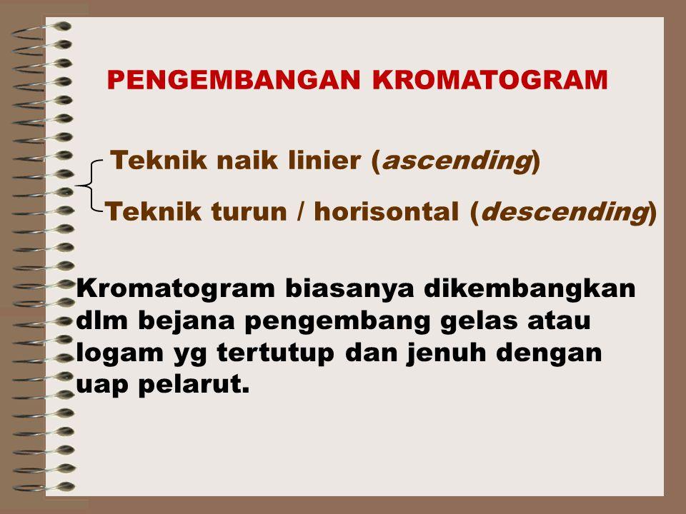 Kromatogram biasanya dikembangkan dlm bejana pengembang gelas atau logam yg tertutup dan jenuh dengan uap pelarut.