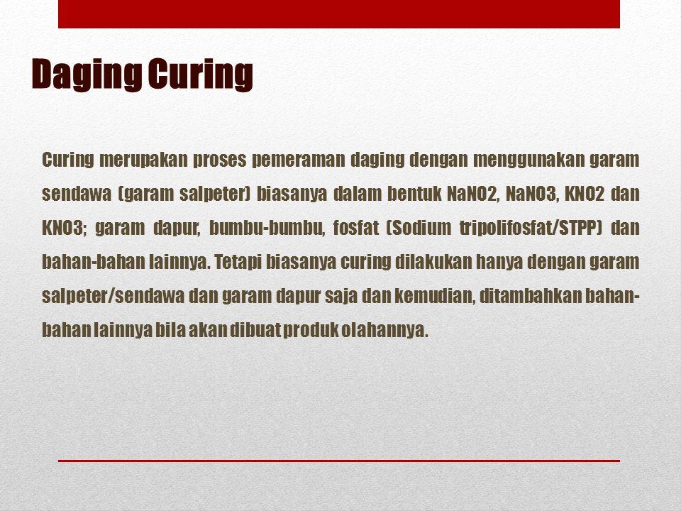 Curing merupakan proses pemeraman daging dengan menggunakan garam sendawa (garam salpeter) biasanya dalam bentuk NaNO2, NaNO3, KNO2 dan KNO3; garam da