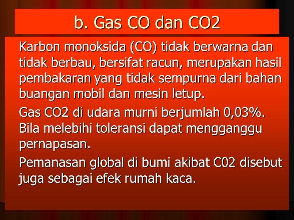 b. Gas CO dan CO2 Karbon monoksida (CO) tidak berwarna dan tidak berbau, bersifat racun, merupakan hasil pembakaran yang tidak sempurna dari bahan bua