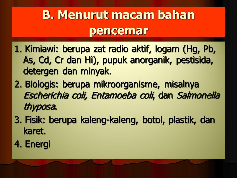 B. Menurut macam bahan pencemar 1. Kimiawi: berupa zat radio aktif, logam (Hg, Pb, As, Cd, Cr dan Hi), pupuk anorganik, pestisida, detergen dan minyak