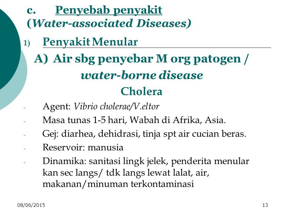08/06/201513 c.Penyebab penyakit (Water-associated Diseases) 1) Penyakit Menular A)Air sbg penyebar M org patogen / water-borne disease Cholera - Agent: Vibrio cholerae/V.eltor - Masa tunas 1-5 hari, Wabah di Afrika, Asia.