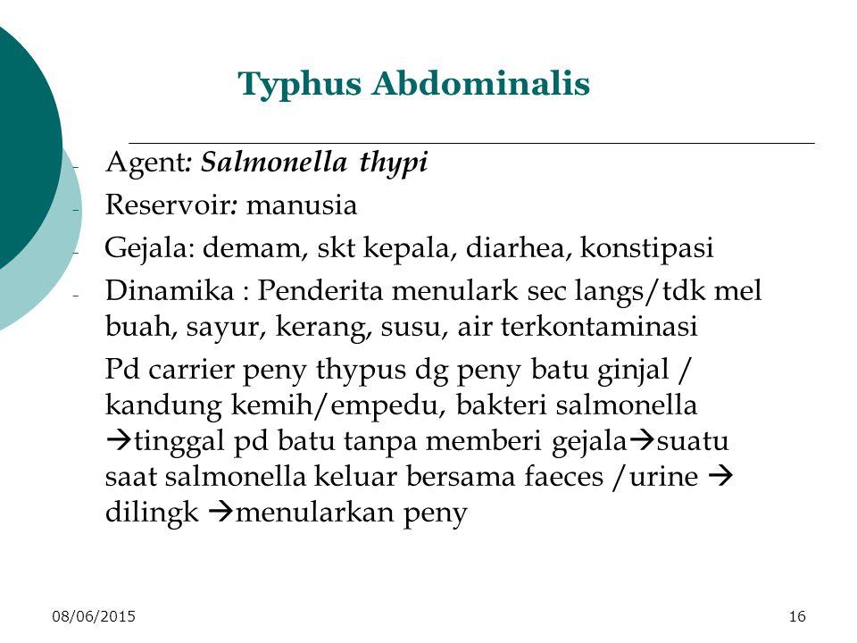 08/06/201516 Typhus Abdominalis - Agent : Salmonella thypi - Reservoir : manusia - Gejala: demam, skt kepala, diarhea, konstipasi - Dinamika : Penderita menulark sec langs/tdk mel buah, sayur, kerang, susu, air terkontaminasi Pd carrier peny thypus dg peny batu ginjal / kandung kemih/empedu, bakteri salmonella  tinggal pd batu tanpa memberi gejala  suatu saat salmonella keluar bersama faeces /urine  dilingk  menularkan peny