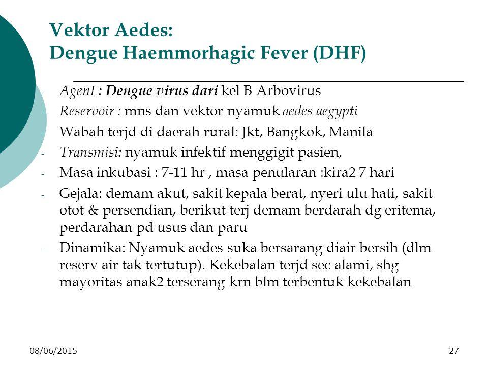 08/06/201527 Vektor Aedes: Dengue Haemmorhagic Fever (DHF) - Agent : Dengue virus dari kel B Arbovirus - Reservoir : mns dan vektor nyamuk aedes aegypti - Wabah terjd di daerah rural: Jkt, Bangkok, Manila - Transmisi : nyamuk infektif menggigit pasien, - Masa inkubasi : 7-11 hr, masa penularan :kira2 7 hari - Gejala: demam akut, sakit kepala berat, nyeri ulu hati, sakit otot & persendian, berikut terj demam berdarah dg eritema, perdarahan pd usus dan paru - Dinamika: Nyamuk aedes suka bersarang diair bersih (dlm reserv air tak tertutup).