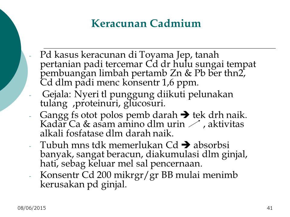 08/06/201541 Keracunan Cadmium - Pd kasus keracunan di Toyama Jep, tanah pertanian padi tercemar Cd dr hulu sungai tempat pembuangan limbah pertamb Zn & Pb ber thn2, Cd dlm padi menc konsentr 1,6 ppm.