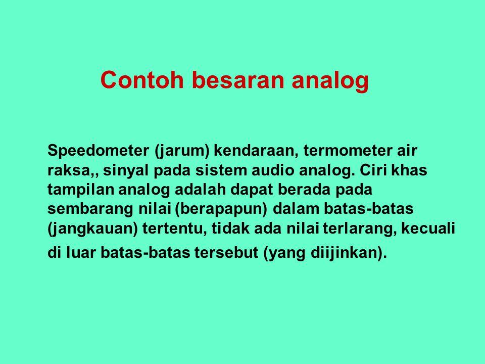 Contoh besaran analog Speedometer (jarum) kendaraan, termometer air raksa,, sinyal pada sistem audio analog. Ciri khas tampilan analog adalah dapat be