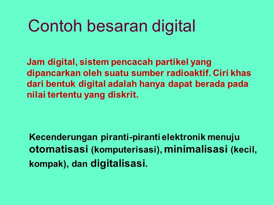 Contoh besaran digital Jam digital, sistem pencacah partikel yang dipancarkan oleh suatu sumber radioaktif. Ciri khas dari bentuk digital adalah hanya