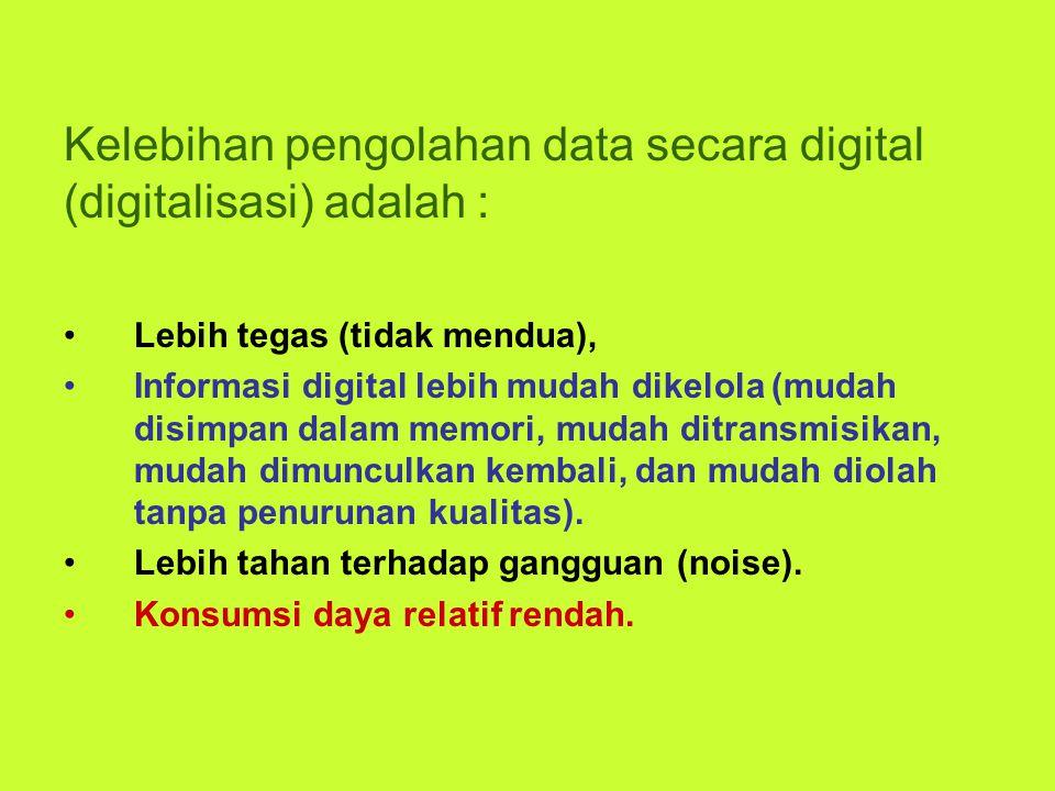 Kelebihan pengolahan data secara digital (digitalisasi) adalah : Lebih tegas (tidak mendua), Informasi digital lebih mudah dikelola (mudah disimpan da