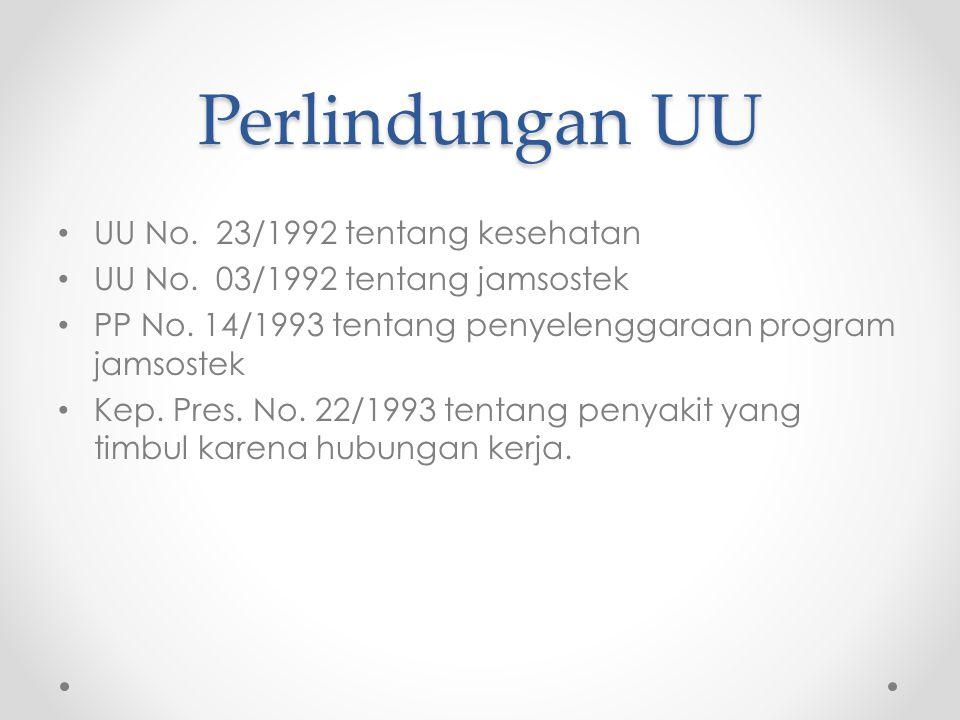 Perlindungan UU UU No. 23/1992 tentang kesehatan UU No. 03/1992 tentang jamsostek PP No. 14/1993 tentang penyelenggaraan program jamsostek Kep. Pres.