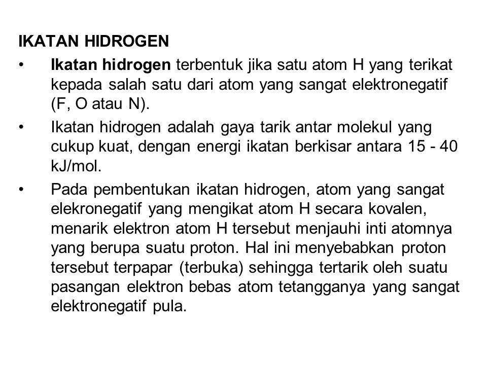 IKATAN HIDROGEN Ikatan hidrogen terbentuk jika satu atom H yang terikat kepada salah satu dari atom yang sangat elektronegatif (F, O atau N).