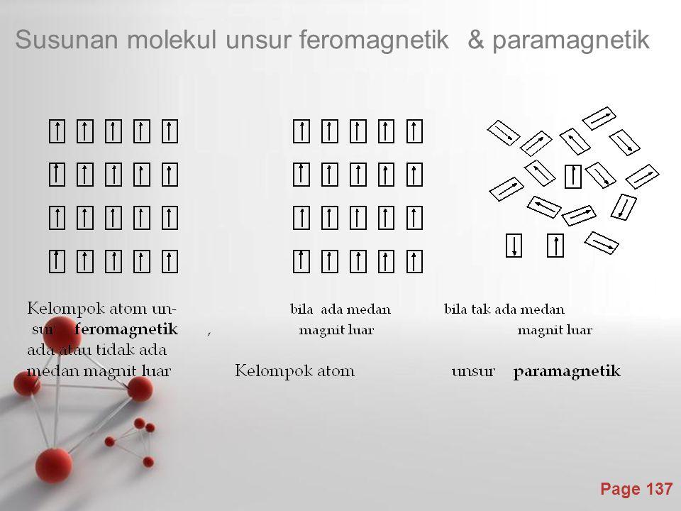 Page 137 Susunan molekul unsur feromagnetik & paramagnetik
