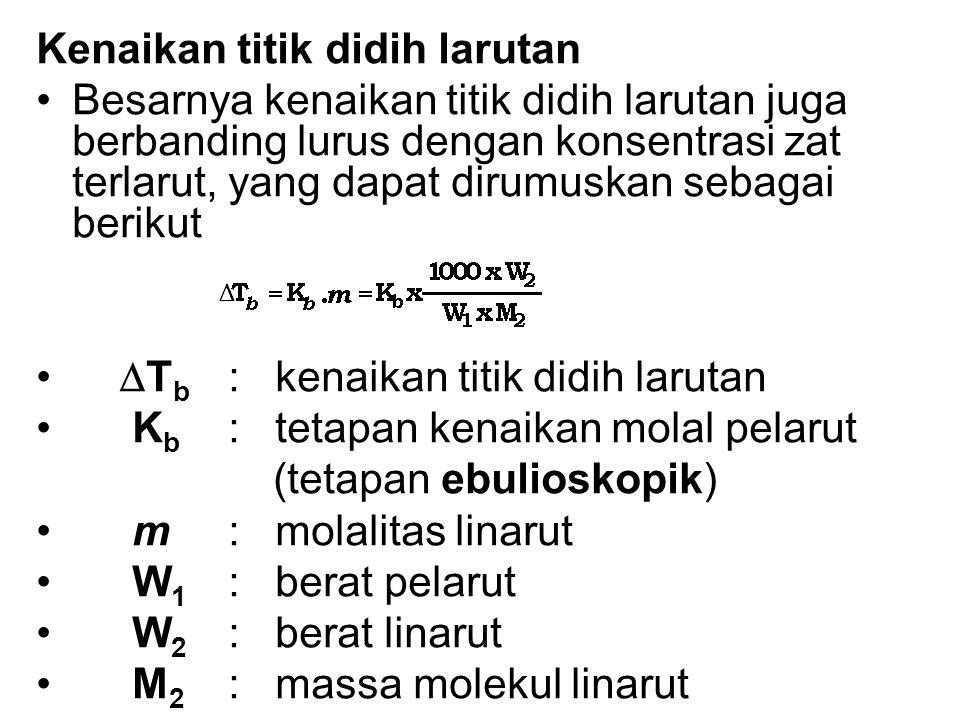 Kenaikan titik didih larutan Besarnya kenaikan titik didih larutan juga berbanding lurus dengan konsentrasi zat terlarut, yang dapat dirumuskan sebagai berikut  T b : kenaikan titik didih larutan K b : tetapan kenaikan molal pelarut (tetapan ebulioskopik) m: molalitas linarut W 1 : berat pelarut W 2 : berat linarut M 2 : massa molekul linarut