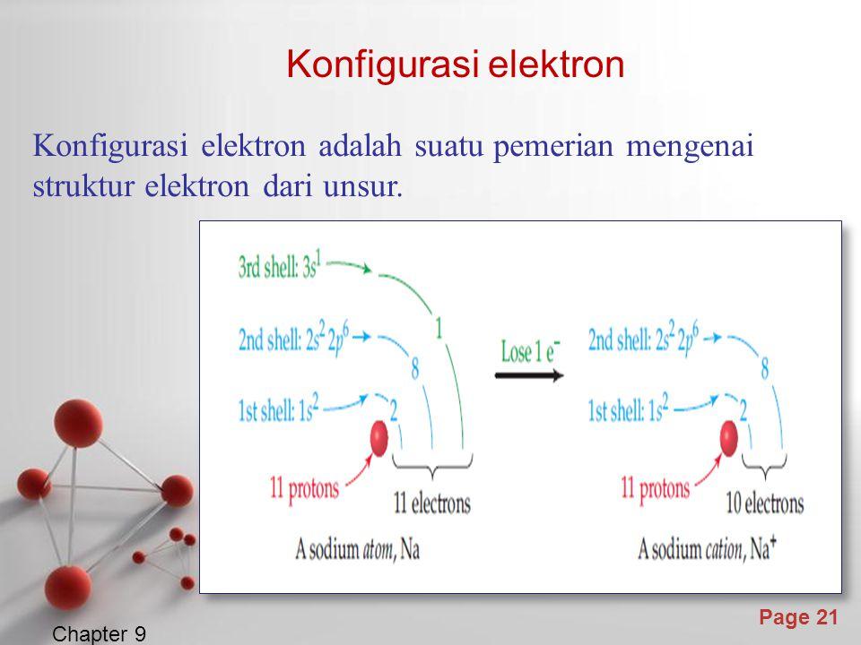 Page 21 Konfigurasi elektron Chapter 9 Konfigurasi elektron adalah suatu pemerian mengenai struktur elektron dari unsur.
