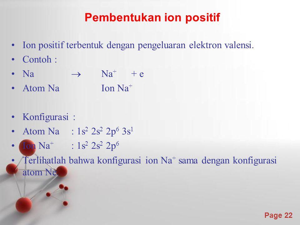 Page 22 Ion positif terbentuk dengan pengeluaran elektron valensi.
