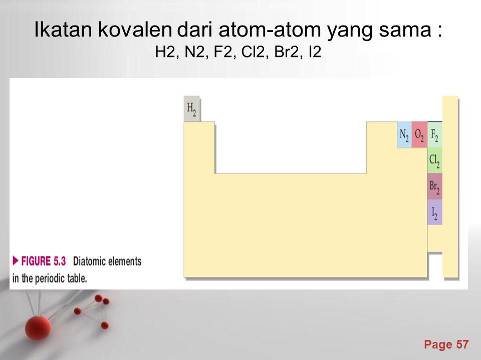 Page 57 Ikatan kovalen dari atom-atom yang sama : H2, N2, F2, Cl2, Br2, I2