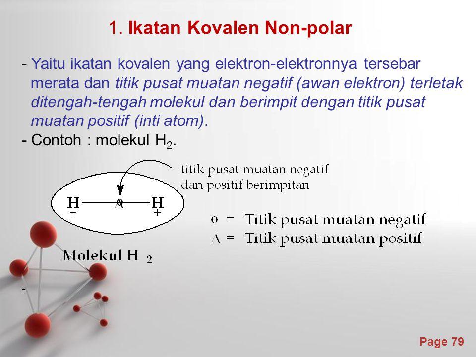 Page 79 - Yaitu ikatan kovalen yang elektron-elektronnya tersebar merata dan titik pusat muatan negatif (awan elektron) terletak ditengah-tengah molekul dan berimpit dengan titik pusat muatan positif (inti atom).