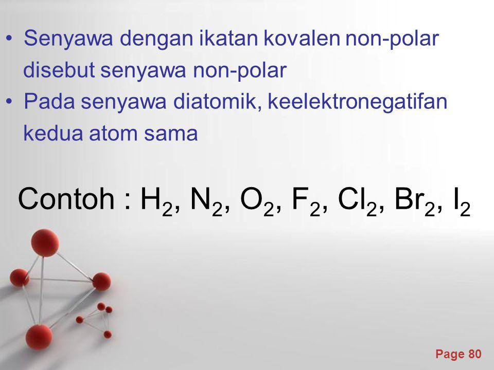Page 80 Senyawa dengan ikatan kovalen non-polar disebut senyawa non-polar Pada senyawa diatomik, keelektronegatifan kedua atom sama Contoh : H 2, N 2, O 2, F 2, Cl 2, Br 2, I 2