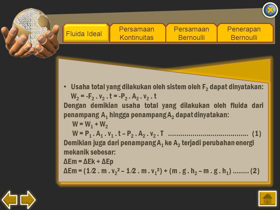 Fluida Ideal Persamaan Kontinuitas Persamaan Bernoulli Penerapan Bernoulli Usaha total yang dilakukan oleh sistem oleh F 2 dapat dinyatakan: W 2 = -F