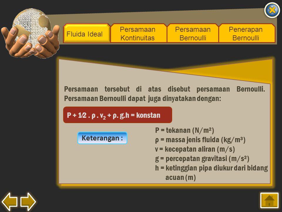 Fluida Ideal Persamaan Kontinuitas Persamaan Bernoulli Penerapan Bernoulli Persamaan tersebut di atas disebut persamaan Bernoulli. Persamaan Bernoulli