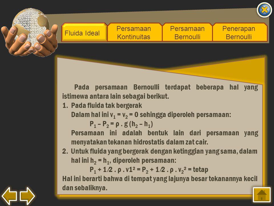 Fluida Ideal Persamaan Kontinuitas Persamaan Bernoulli Penerapan Bernoulli Pada persamaan Bernoulli terdapat beberapa hal yang istimewa antara lain se