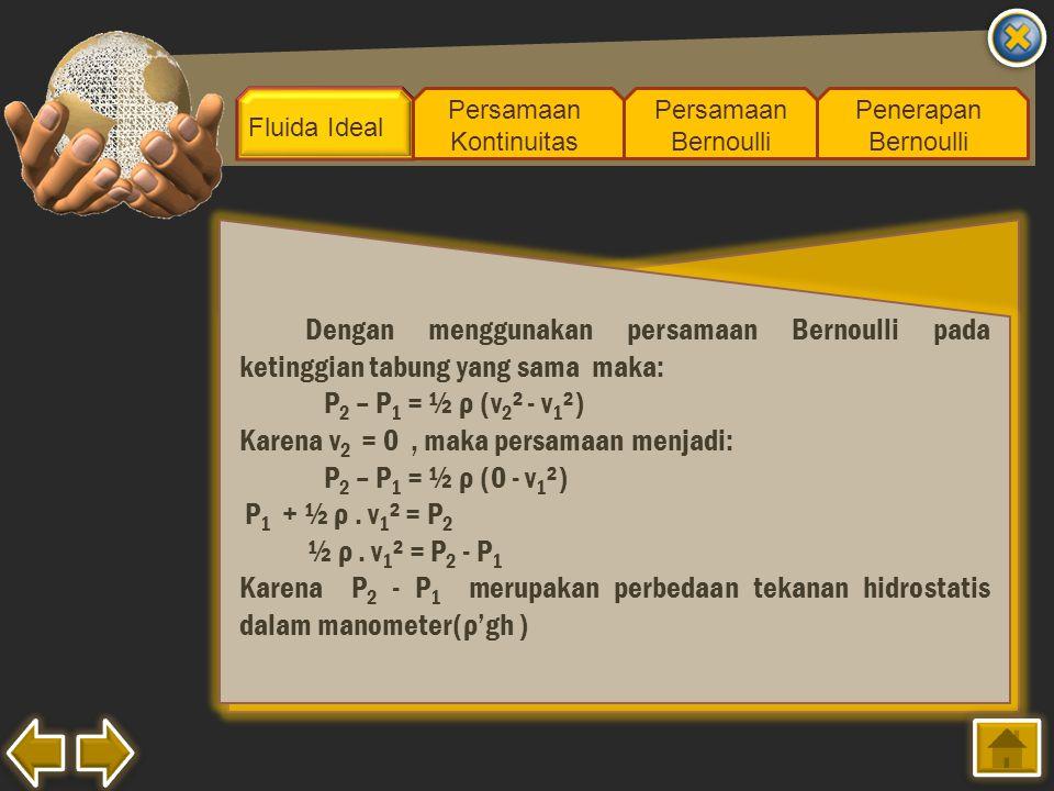 Fluida Ideal Persamaan Kontinuitas Persamaan Bernoulli Penerapan Bernoulli Dengan menggunakan persamaan Bernoulli pada ketinggian tabung yang sama mak