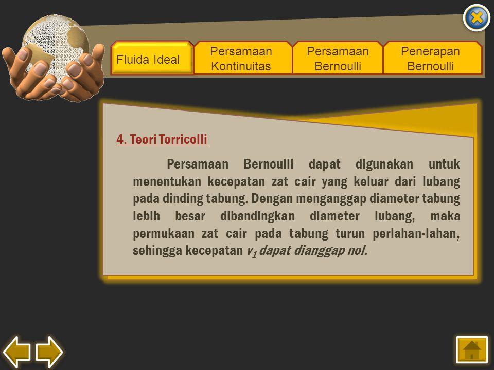 Fluida Ideal Persamaan Kontinuitas Persamaan Bernoulli Penerapan Bernoulli 4. Teori Torricolli Persamaan Bernoulli dapat digunakan untuk menentukan ke