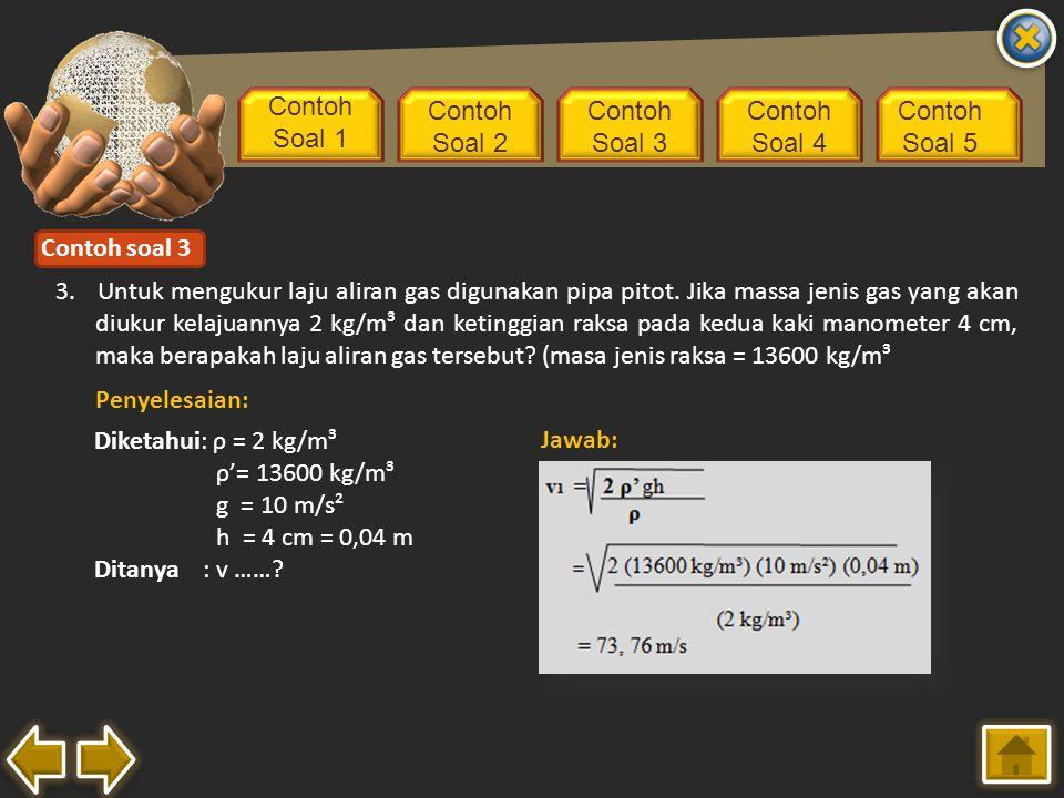 Contoh Soal 1 Contoh Soal 2 Contoh Soal 3 Contoh Soal 4 Contoh Soal 5 3. Untuk mengukur laju aliran gas digunakan pipa pitot. Jika massa jenis gas yan