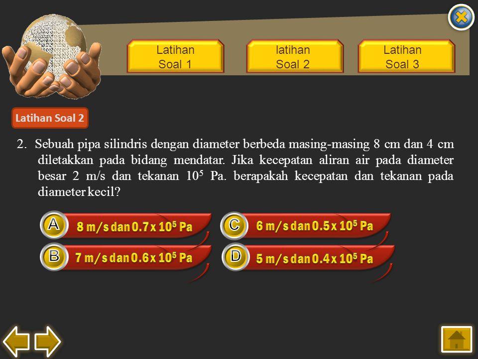 Latihan Soal 1 latihan Soal 2 Latihan Soal 3 Latihan Soal 2 2. Sebuah pipa silindris dengan diameter berbeda masing-masing 8 cm dan 4 cm diletakkan pa