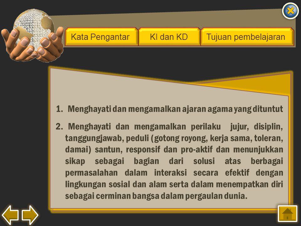 1.Menghayati dan mengamalkan ajaran agama yang dituntut 2. Menghayati dan mengamalkan perilaku jujur, disiplin, tanggungjawab, peduli (gotong royong,